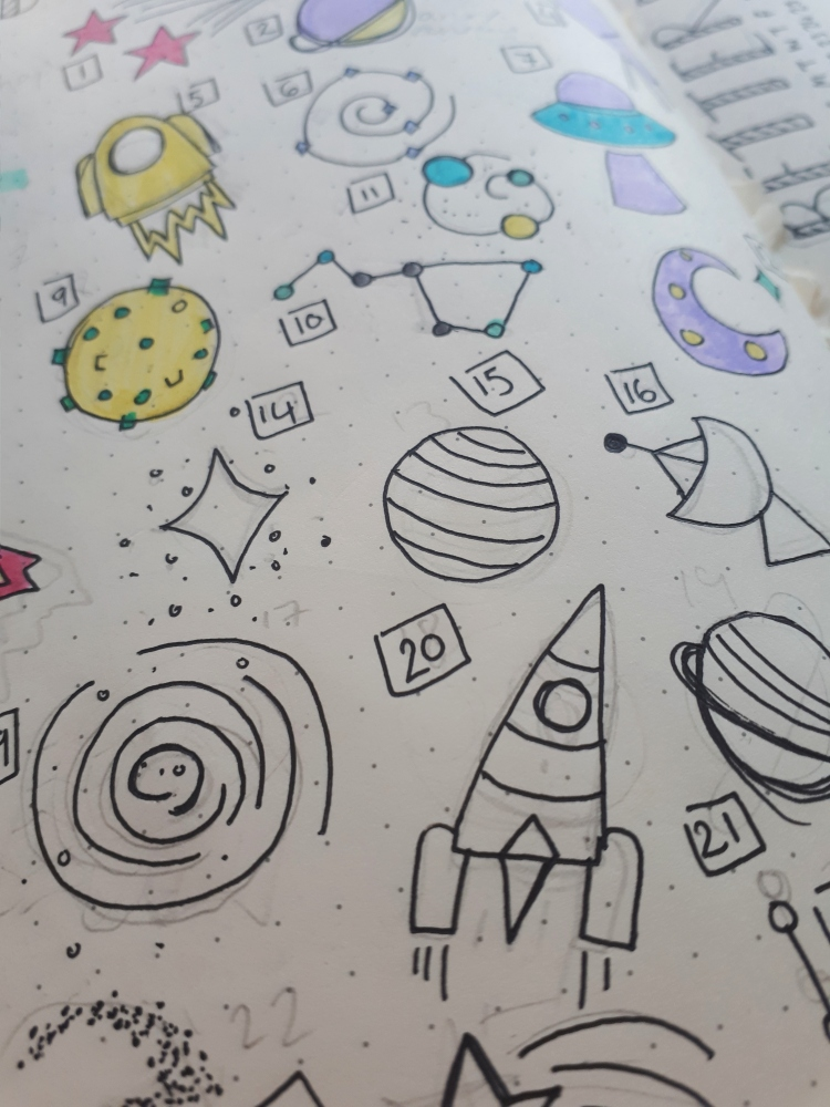 Space mood tracker for bullet journal | Rosie Lewis Writes