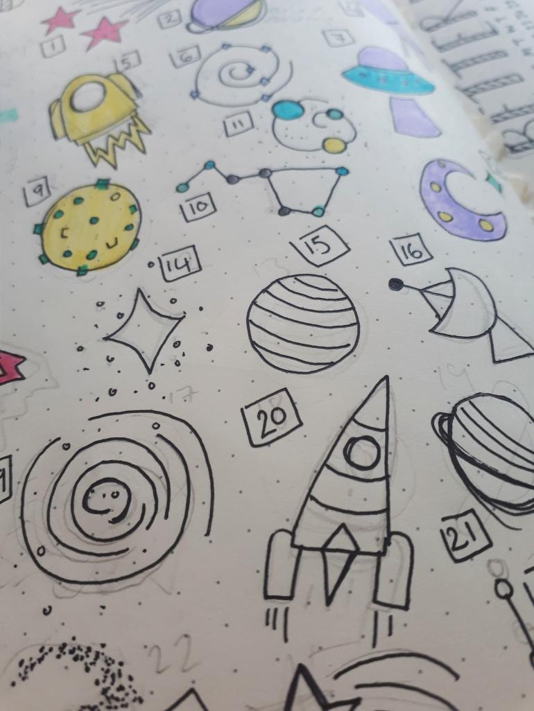 Space mood tracker for bullet journal | Rosie Lewis Writes