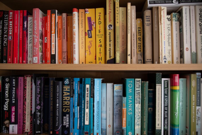 Two shelves full of books, moving from red books, through the rainbow, to black.