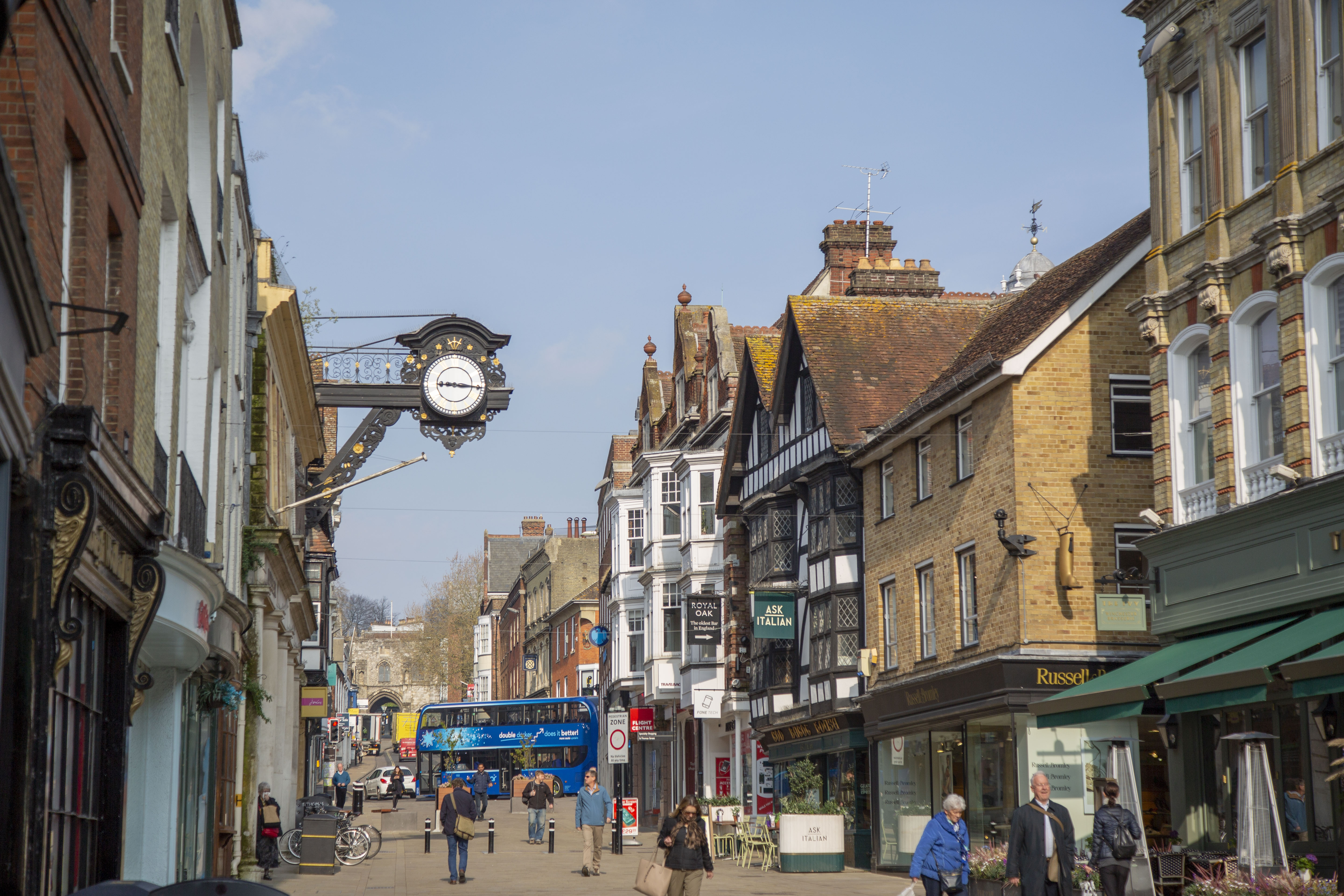 The top of Winchester High Street, including the black clock