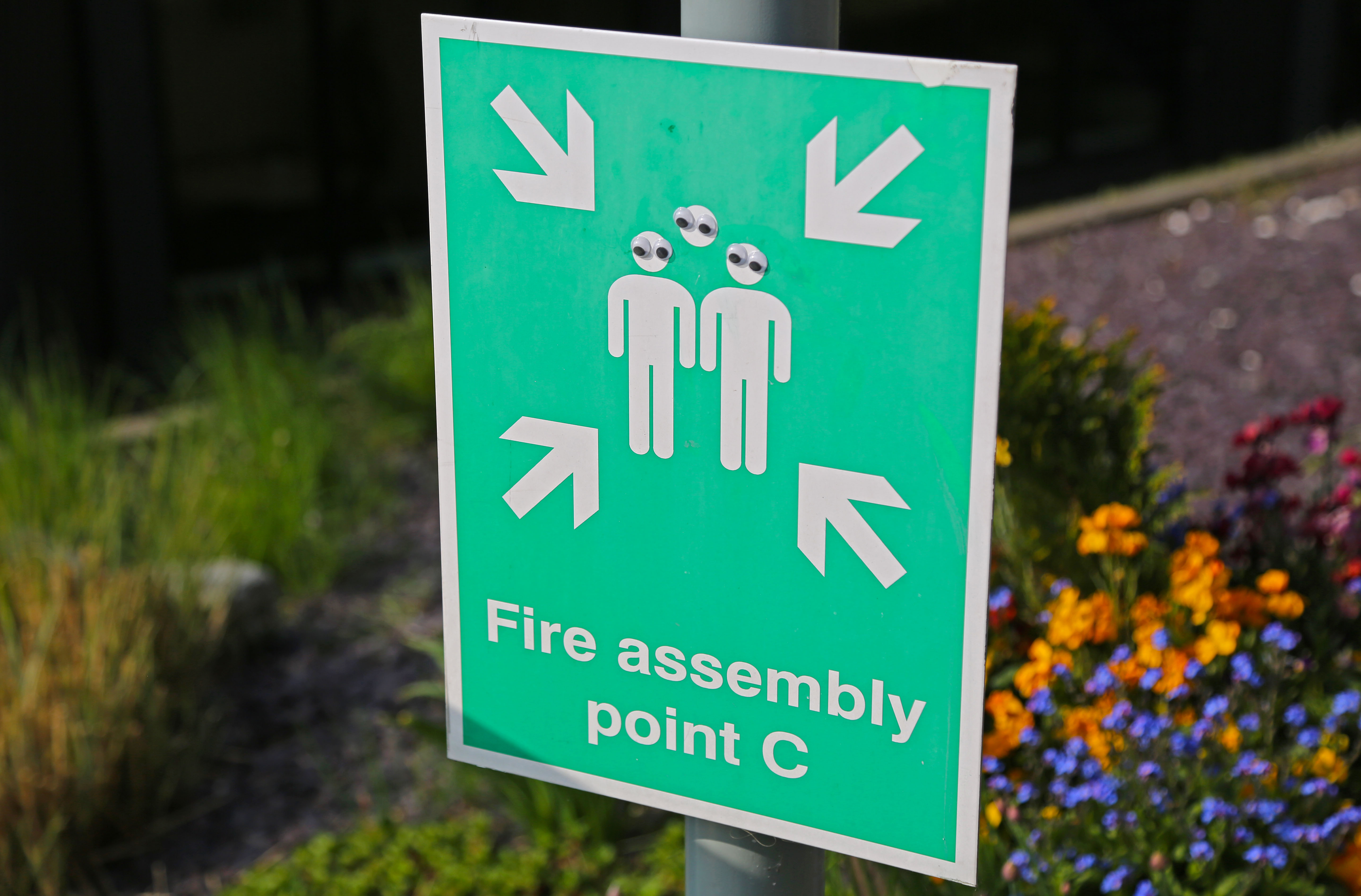 Googly eyes placed on the figues on a Fire Assembly sign