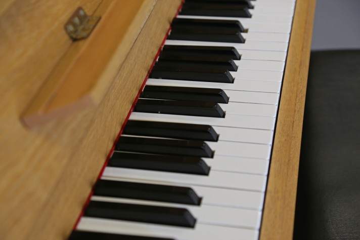 Close up on a piano, complete with keys and lid