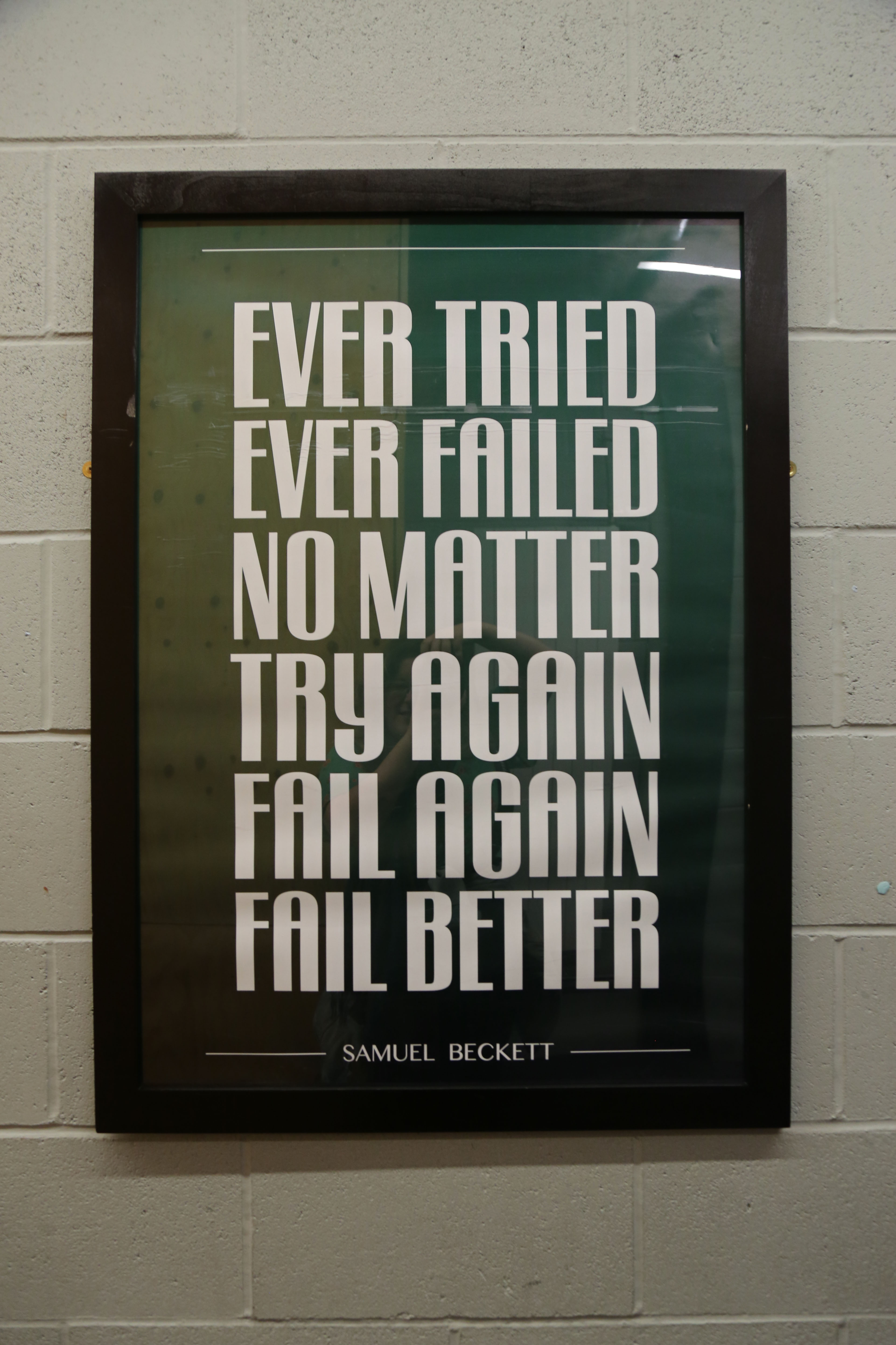 Picture of a Samuel Beckett quote in a frame