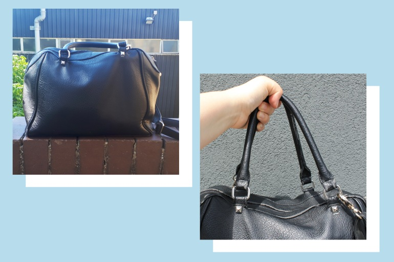 Two pictures against a light blue backgrounds; both are of a black, faux leather, bowling style handbag