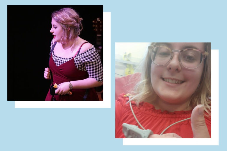 Two pictures of Rosie Lewis - the first, Rosie is performing on stage, holding an epipen; the second, Rosie sat in a hospital bed, with a close up on her puffed up face, after an allergic reaction