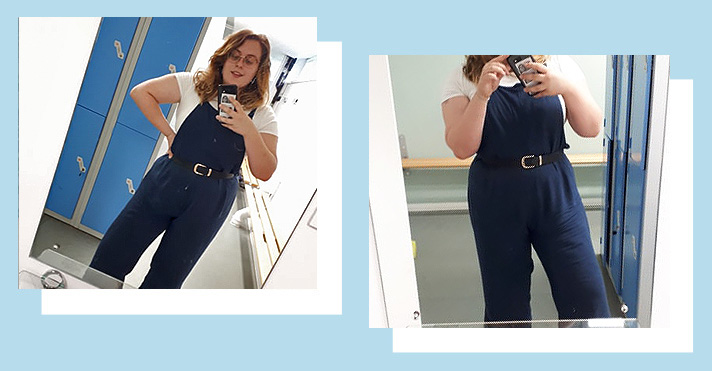 Rosie wearing navy blue dungarees