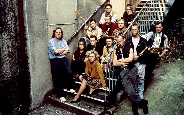 A group shot of the band The Commitments
