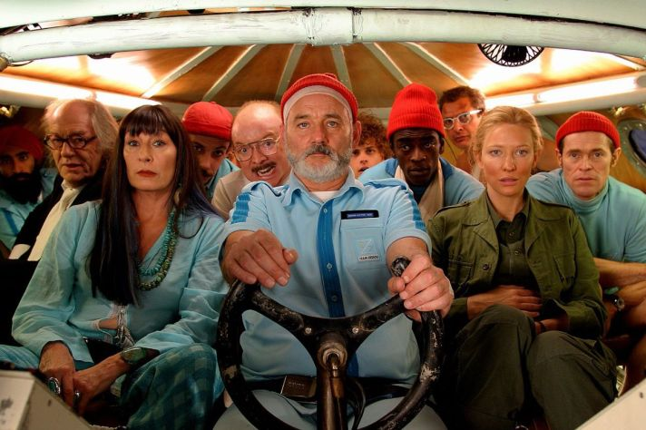 Characters from The Life Aquatic in a submarine