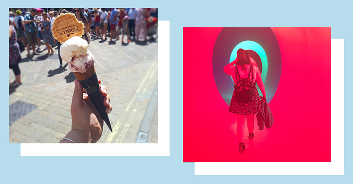 Picture of ice-cream and Rosie walking in Colourscape