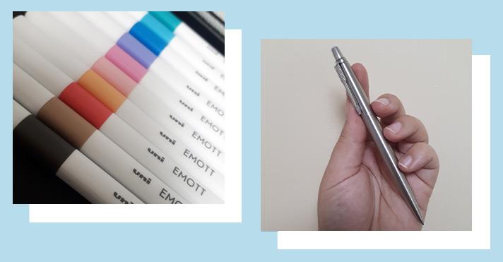 Emott pens, and a silver Parker pen