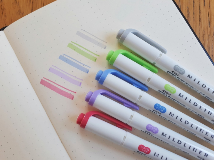 Colour swatches and Mildliner pens - pink, purple, blue, green, grey