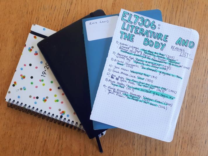 Polka dot diary, black Rhodia webnote, blue notebook, and reading list