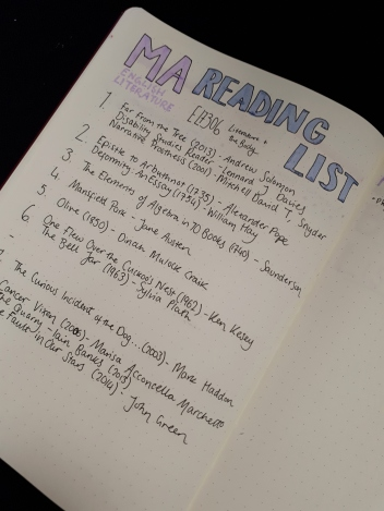MA Reading List - BuJo | rosie abigail
