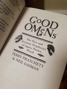 Inside cover of Good Omens - Terry Pratchett & Neil Gaiman