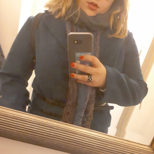 Rosie wearing a New Look coat in navy/teal, mirror selfie