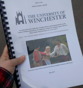 A picture of the front cover of Rosie's undergraduate dissertastion