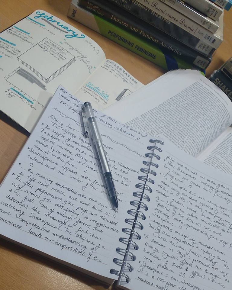 A bullet journal, academic text, and notebook lead out on a table