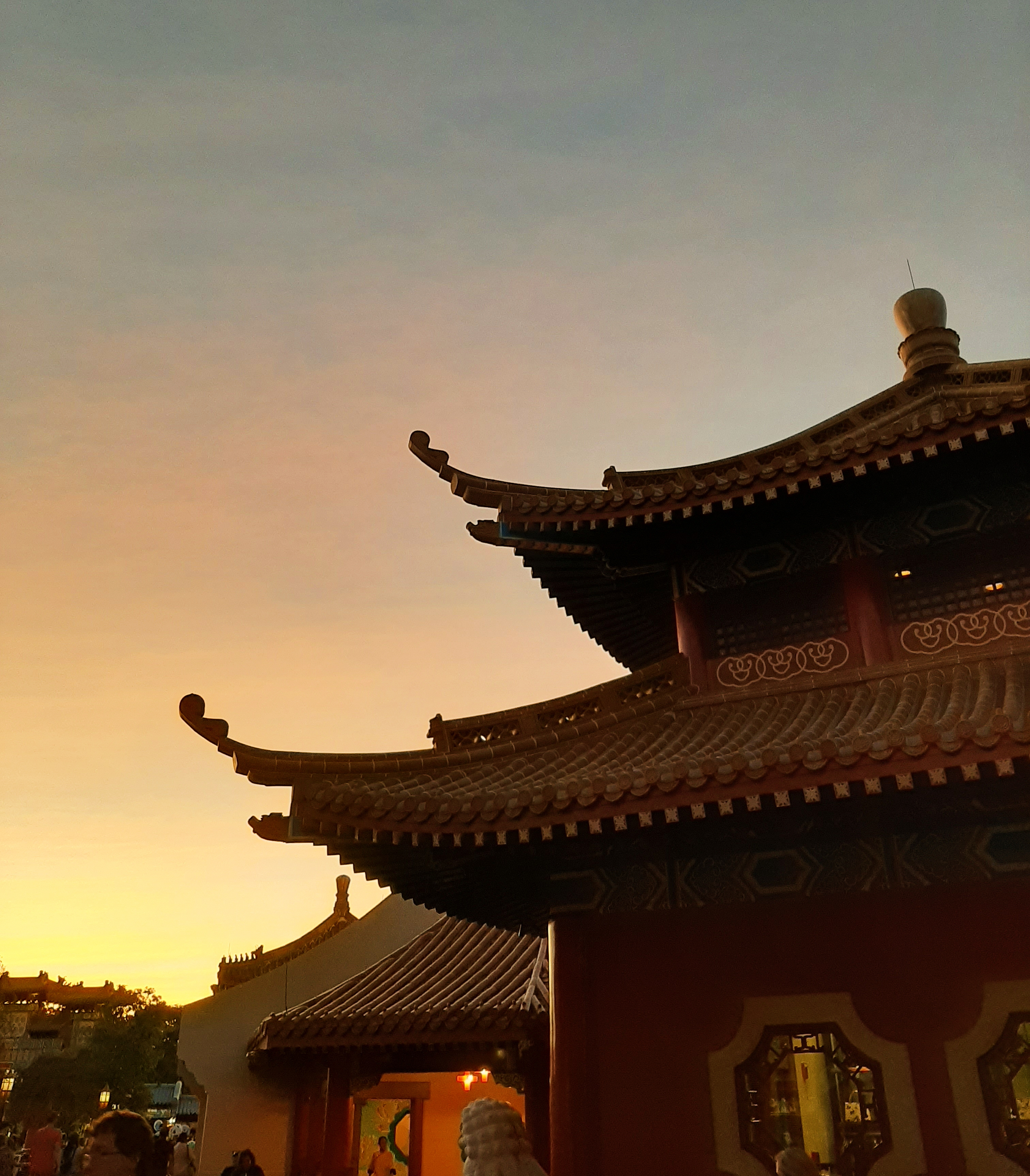 Corner of the Chinese Pavilion against the sunset