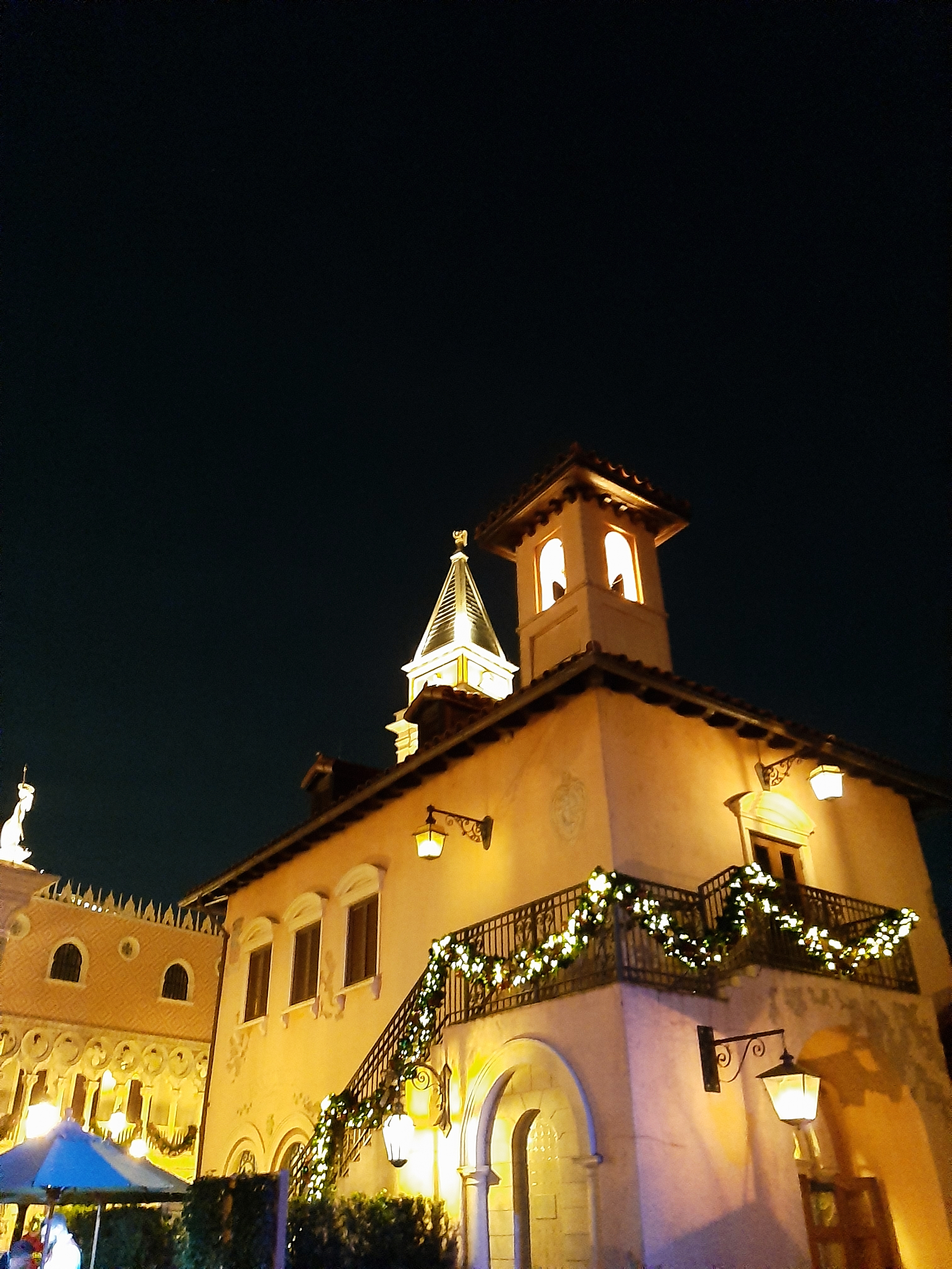 Italy Pavilion at night, with lit up Christmas decorations - EPCOT