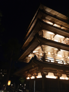 Japan Pavilion lit up at night in EPCOT