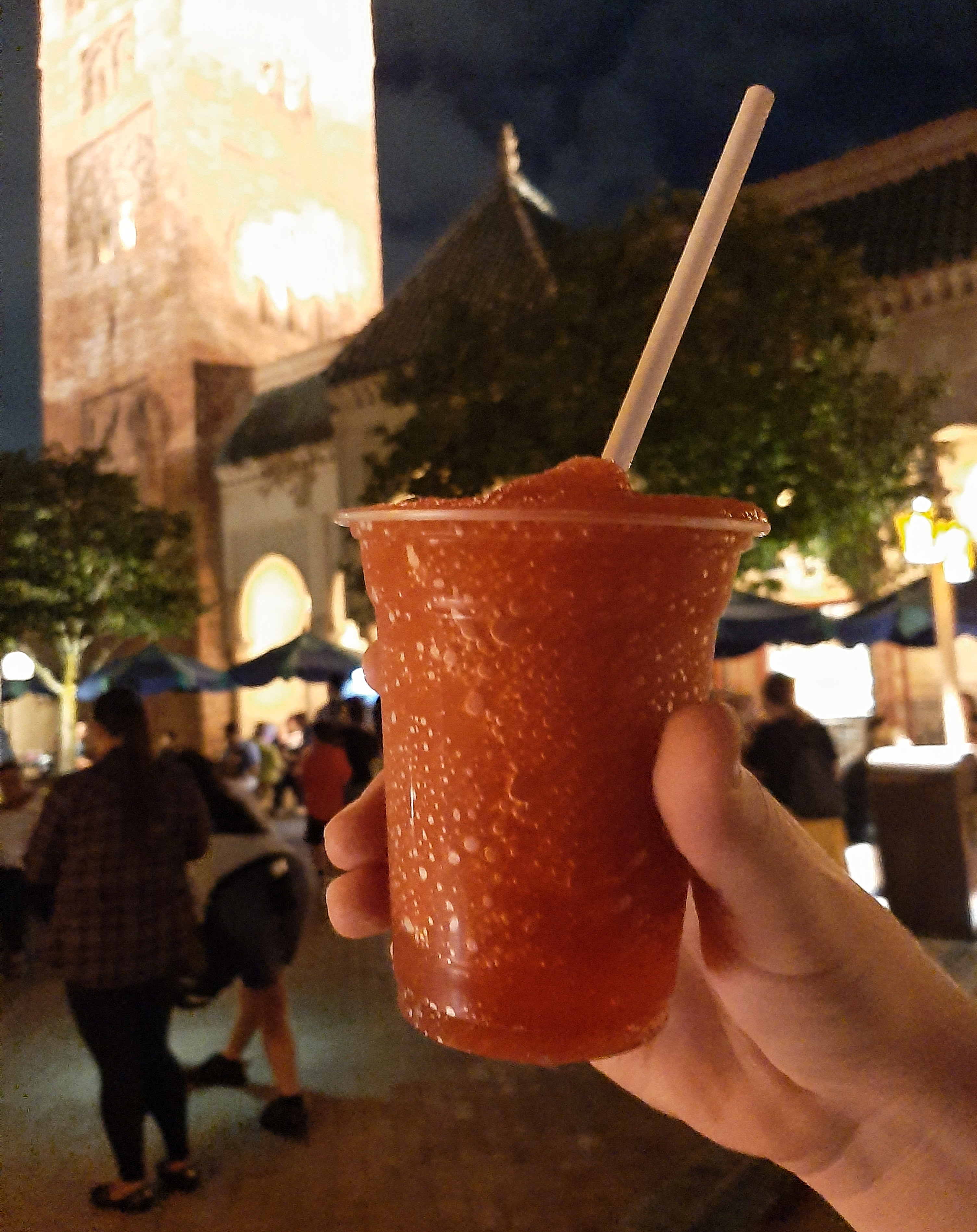 Habibi Daiquiri against the backdrop of Morocco in EPCOT