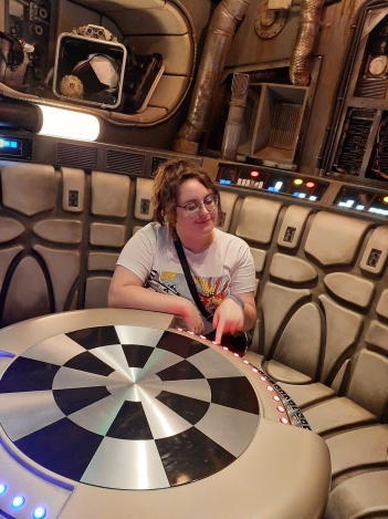 Rosie sat at the Dejarik Chess Table in the Millenium Falcon