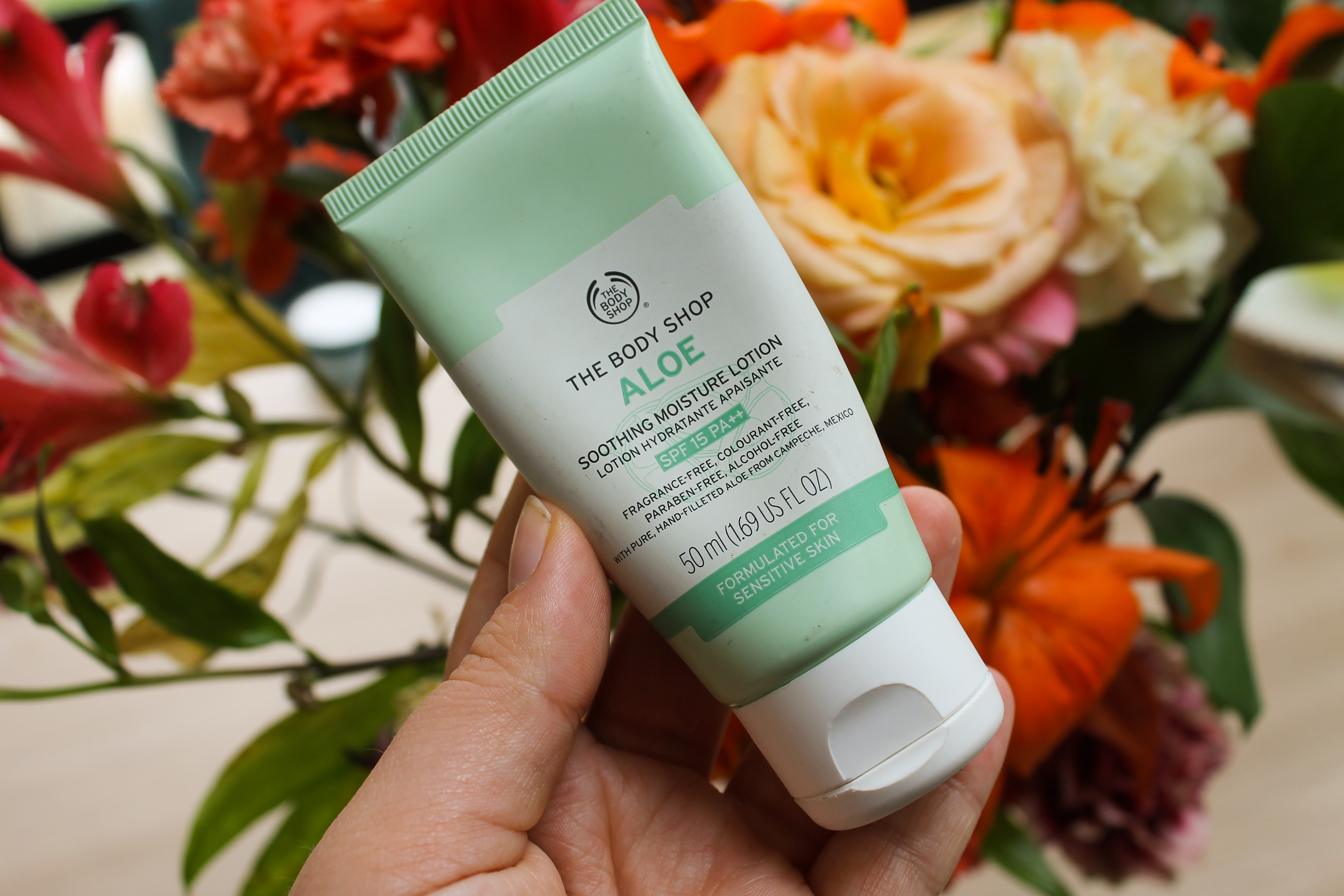 Close up of Aloe Moisturising Lotion, The Body Shop