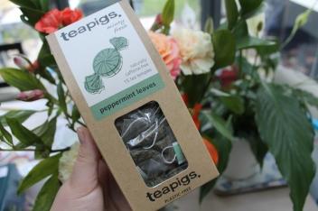 Teapig's Peppermint Tea box against a bouquet of flowers