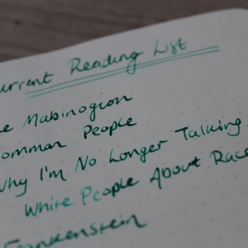 Close up of reading list