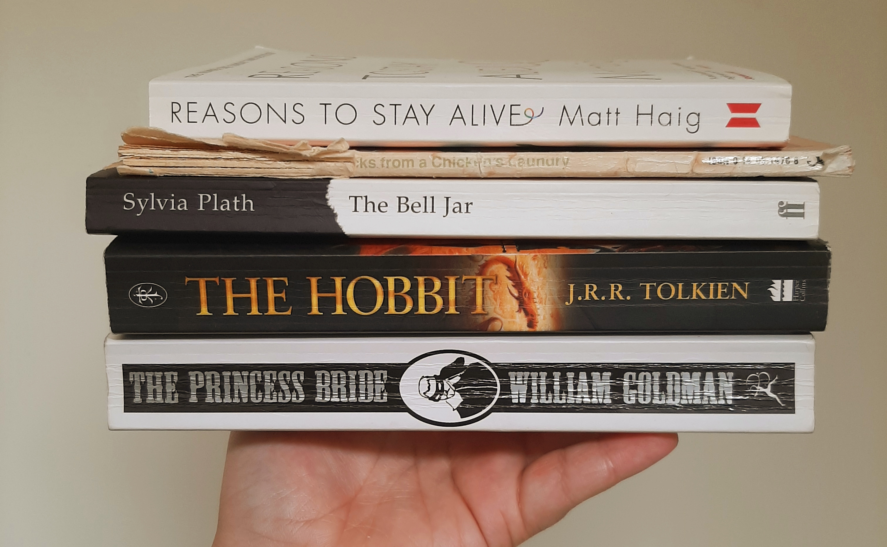 Five Books That Bring Me Joy - Rosie's hand holding a pile of the five books