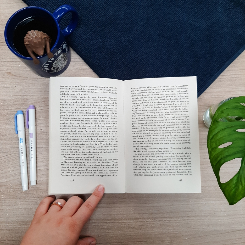 A book lay flat on a table, framed by a blue mug with tea diffuser in a shape of a hedgehog; two pens; a navy cloth; and monstera leaves.