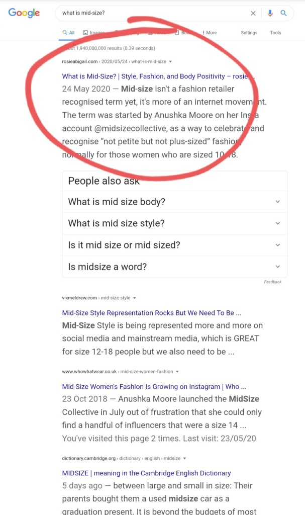 """A screenshot of the search """"what is mid-size?"""" on 12/10/20"""