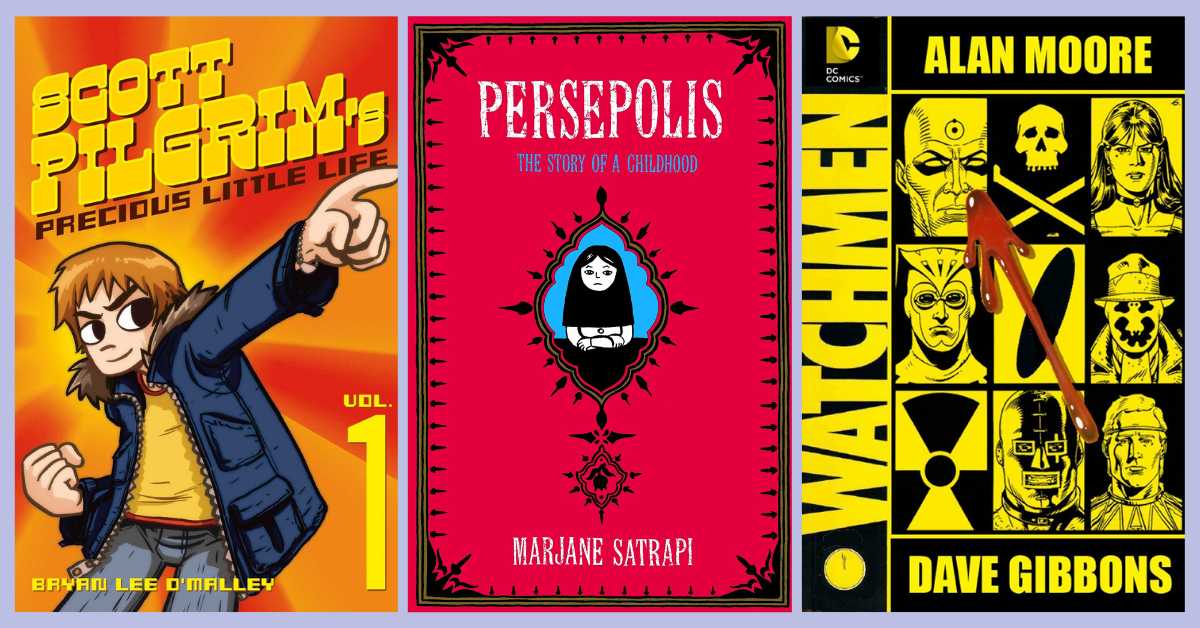 Book Covers - Scott Pilgrim 1 by Bryan Lee O'Malley, Persepolis by Marjane Satrapi, Watchmen by Alan Moore and Dave Gibbons