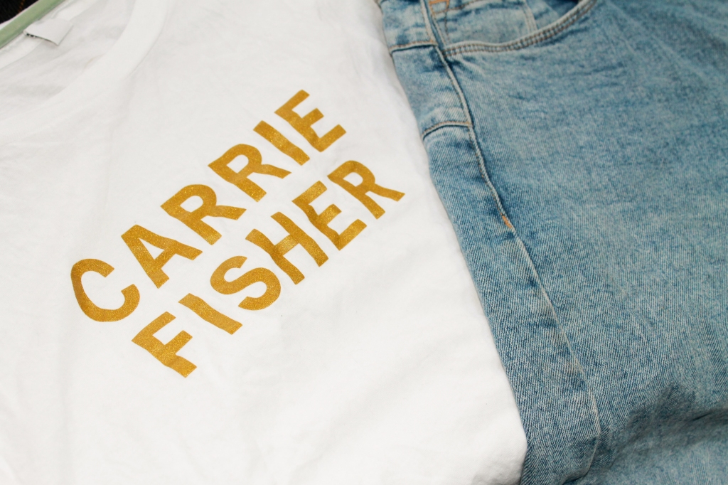 White Carrie Fisher tee from Girls on Tops with blue denim on top
