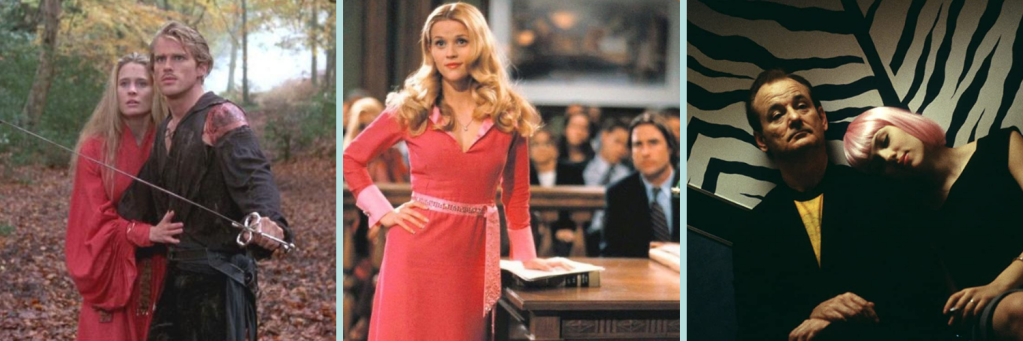 l-r; characters of Buttercup and Westley from The Prince Bride; Elle Woods from Legally Blonde; Bill Murray and Scarlett Johansson in Lost in Translation