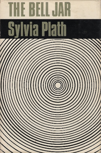 Book cover for The Bell Jar. Black and white circles eminate from the centre. The Bell Jar is written in block grey capitals at the top of the page, Sylvia Plath underneath.